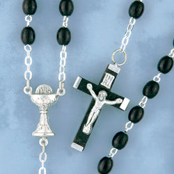 Oval Wood Bead Rosary - 31/BK