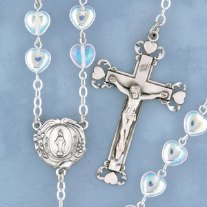 Crystal Heart Rosary - 599/S