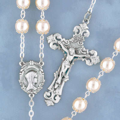 Double Capped Pearl Rosary - 805/S