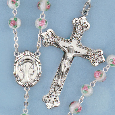 Rose Inlay Rosary - 911
