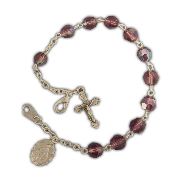 Amethyst Silverplated Cross and Medal Bracelet