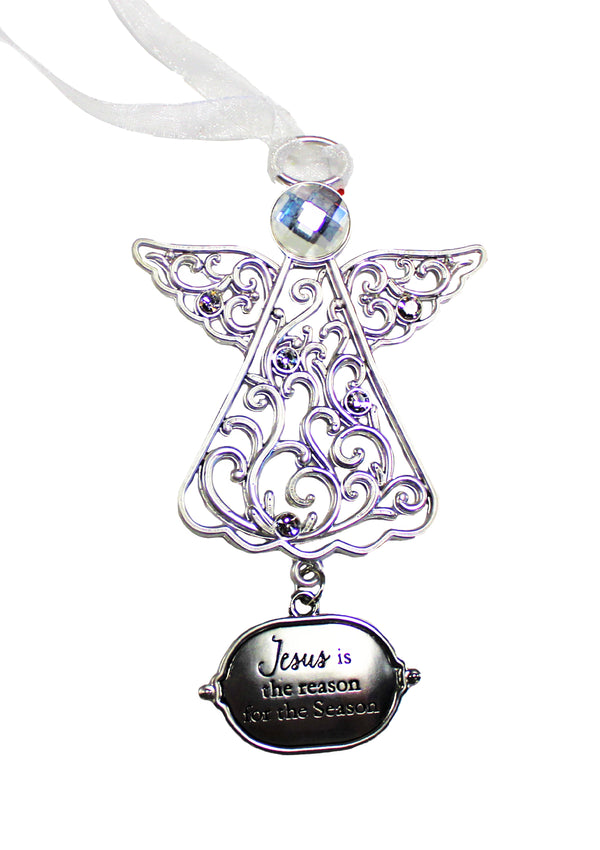 """Jesus Is the Reason For The Season,"" Angel Pewter Ornament"