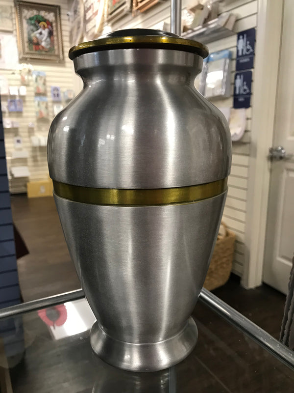 Silver With Gold Trim Urn