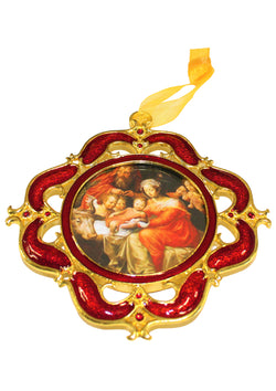 Nativity With Angels Gold Plated Enamel Ornament