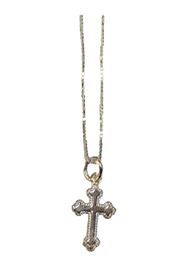 Sterling Silver Youth Small Cross With 15'' Necklace