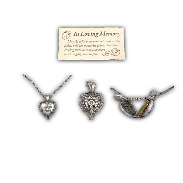 """Always In My Heart"", Urn Locket Heart"