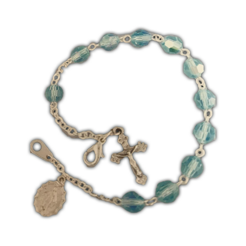 Aqua, Sterling Silver Cross and Medal Bracelet-08650/AQ