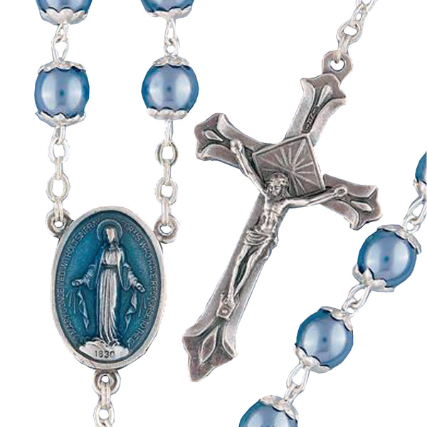 Blue Pearl Rosary - 05835