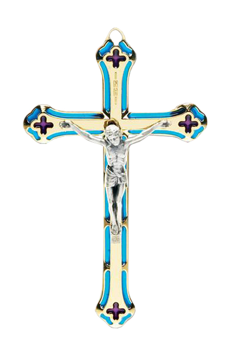 5.25in. Blue Stained Glass Crucifix-1712B