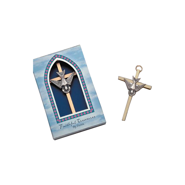 Brass cross with holy spirit, 4in. - 7/7629