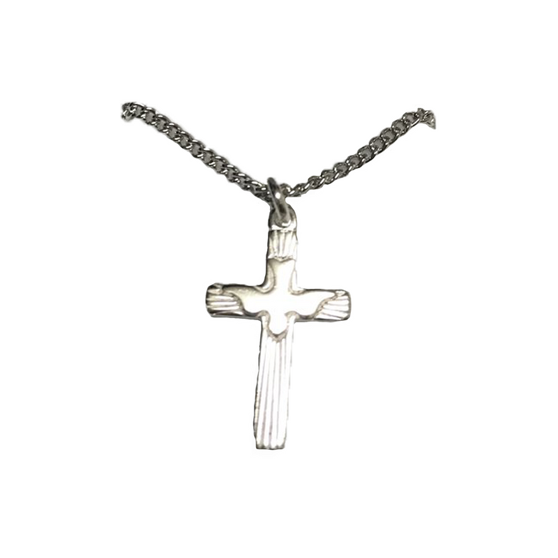 Sterling Silver Cross With Dove and Necklace-S2209