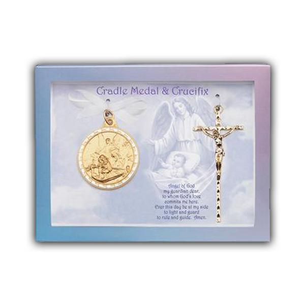 Gold Crib Medal And Crucifix - 6840/590