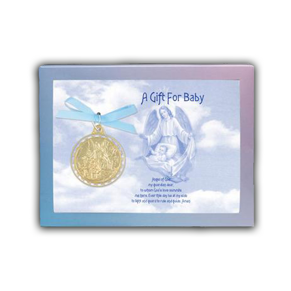 Gold Guardian Angel Crib Medal - 6840