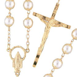 Goldplated Pearl Rosary - 1508/G