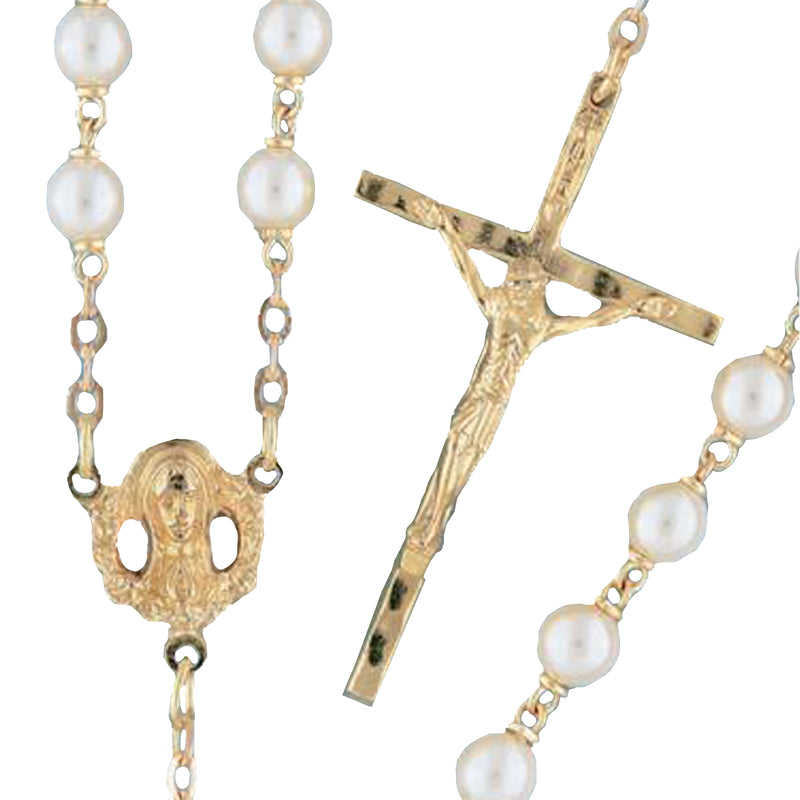 Goldplated Pearl Rosary - 14427/G