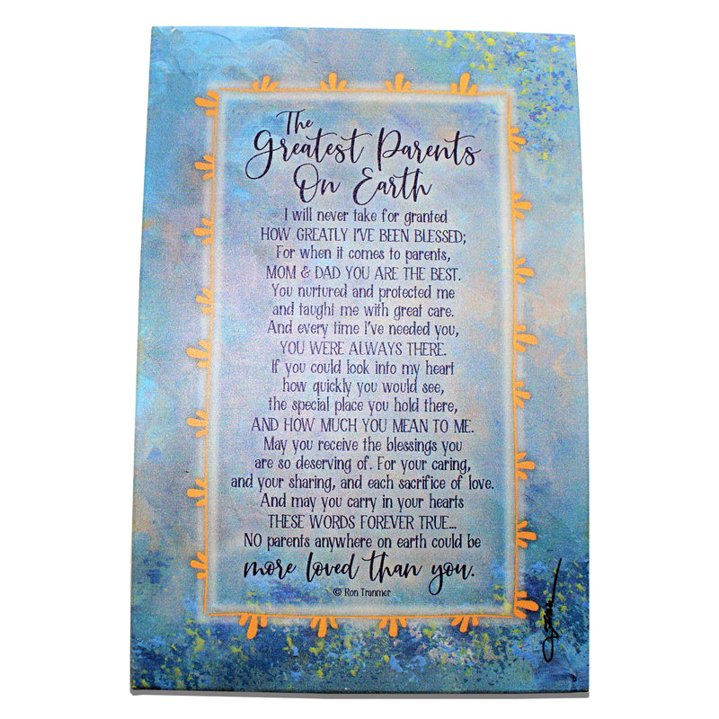 "'Greatest Parents On Earth"" Plaque by Woodland Grace"