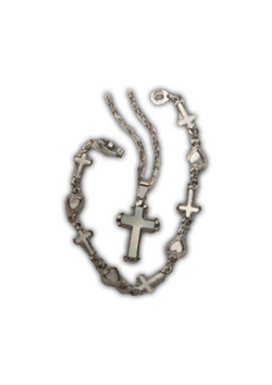 Silver Cross & Hearts Necklace and Bracelet
