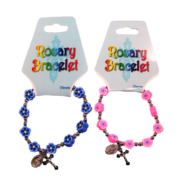 Girls Blue and Pink One Decade Bracelets-45397/pk/c, 45397/bl/c