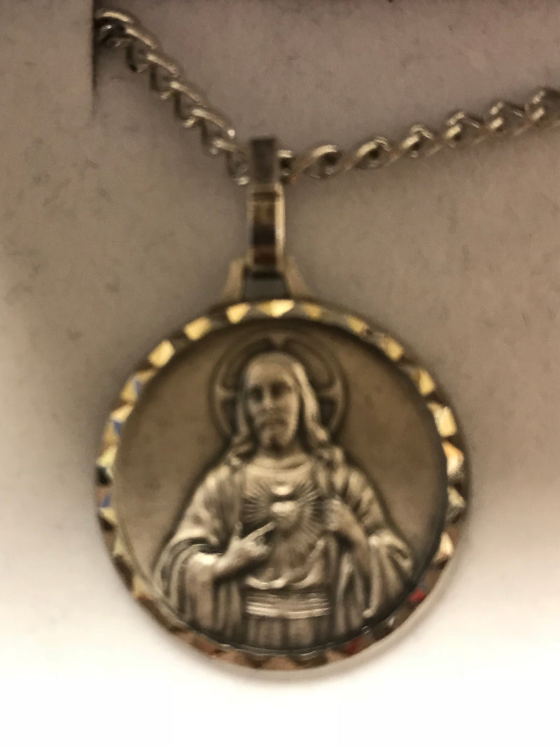 Scared Heart of Jesus French Nickel Silver Medal With Necklace