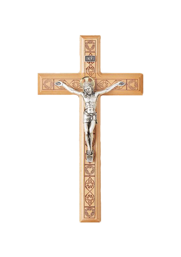 11in. Maple Crucifix with Celtic Laser-engraved Pattern