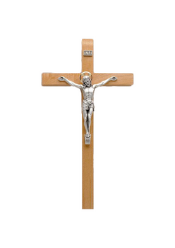 12in. Maple Crucifix with Silverplatd Salerni Corpus