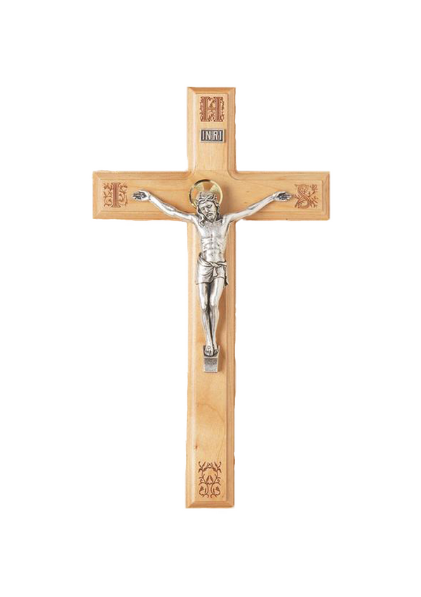 11in. Maple Crucifix with Laser-engraved Pattern