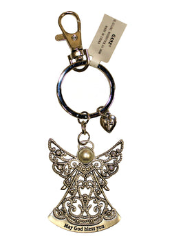 "Angel Pewter Keychain, ""May God Bless You."""