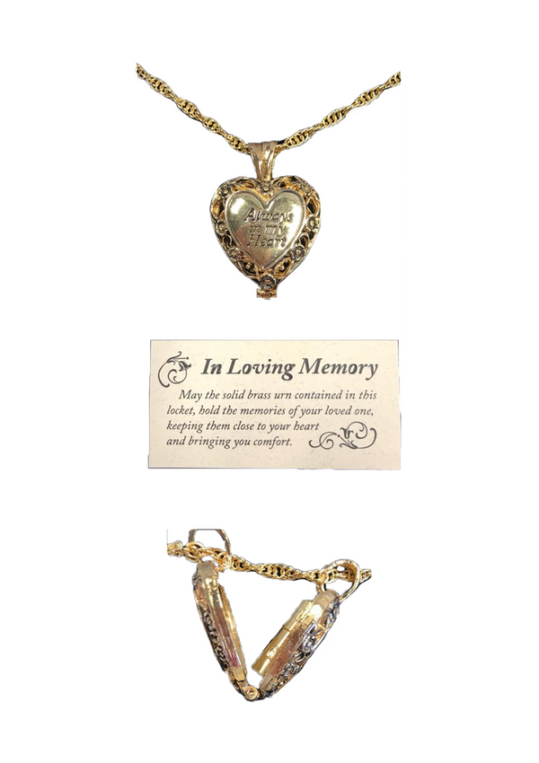 """Always In My Heart"" Urn Gold Heart Locket"