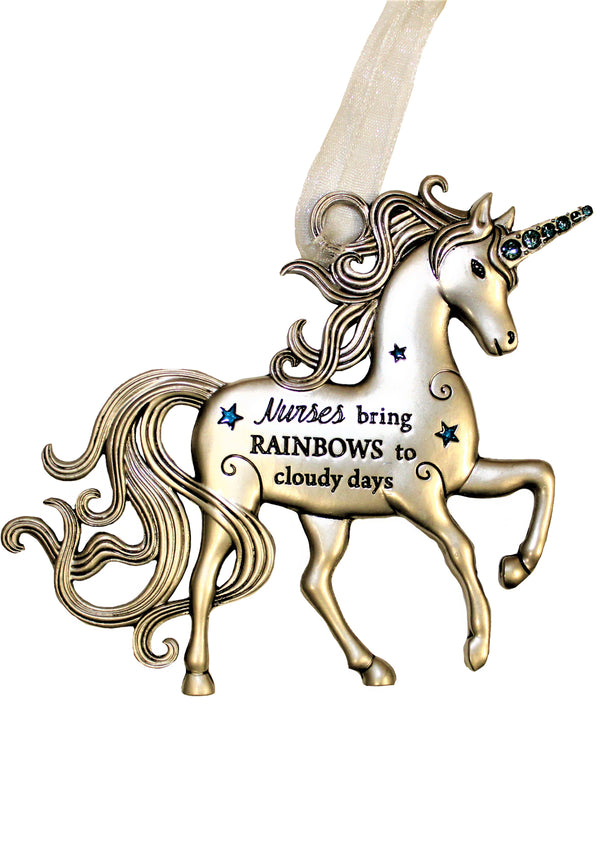 """Nurses Bring Rainbows On A Cloudy Day,"" Pewter Unicorn Ornament"