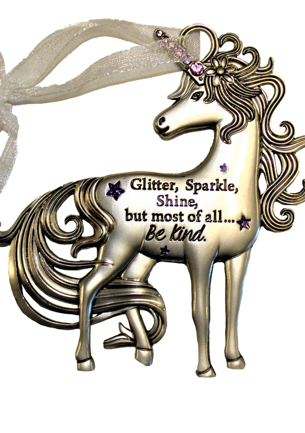 "Ornament, ""Glitter, Sparkle, Shine ....."" Unicorn"