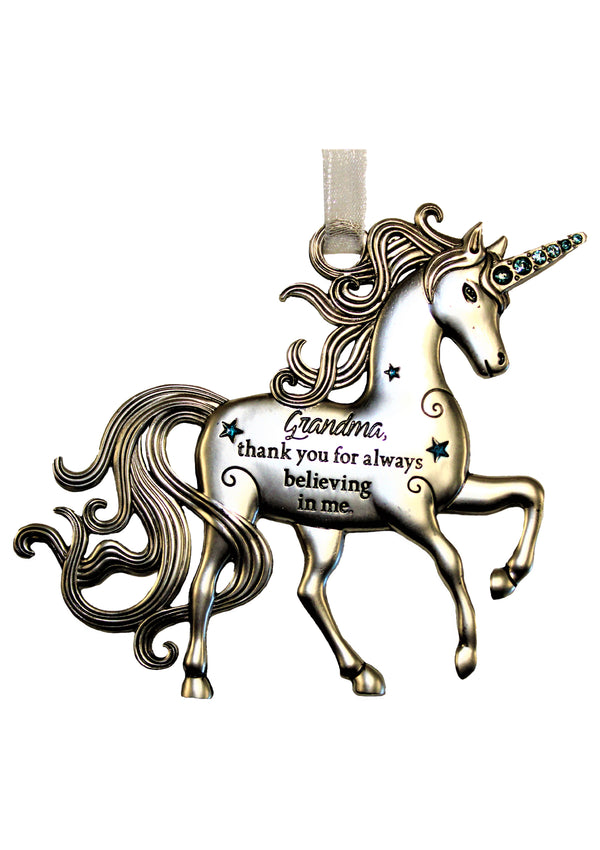 "Ornament Unicorn, ""Grandma, thank you for always believing in me"""