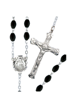 Oval Black Crystal Rosary-375/S