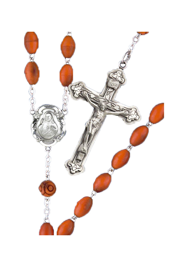 Oval Coco Bead Rosary-670/S/BN