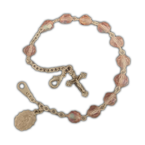 Pink, Silverplated Cross and Medal Bracelet-08610/PK