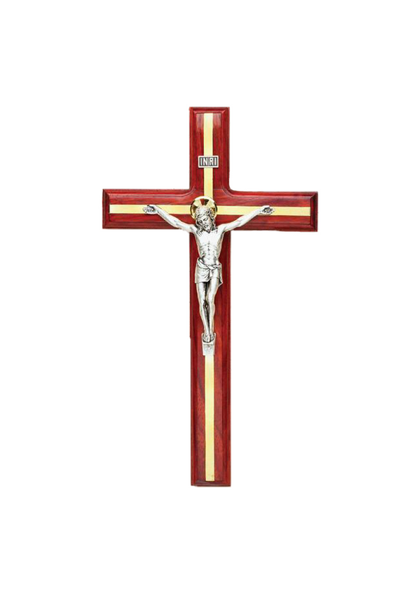 12in. Redwood Crucifix with Brass Inlay