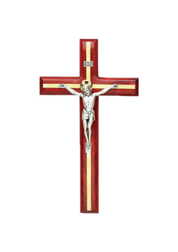 9in. Redwood Crucifix with Brass Inlay