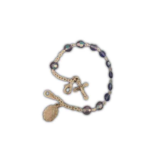 Sapphire, Silverplated Cross and Medal Bracelet