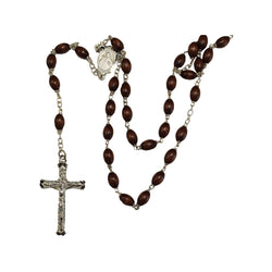 Brown Oval Coco Bean Rosary-P1729/BN