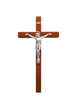 12in. Rosewood Crucifix with Silverplated Salerni Corpus