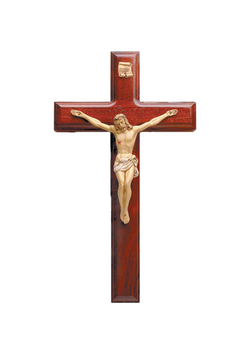 11in. Rosewood Beveled Crucifix with Hand-painted Corpus