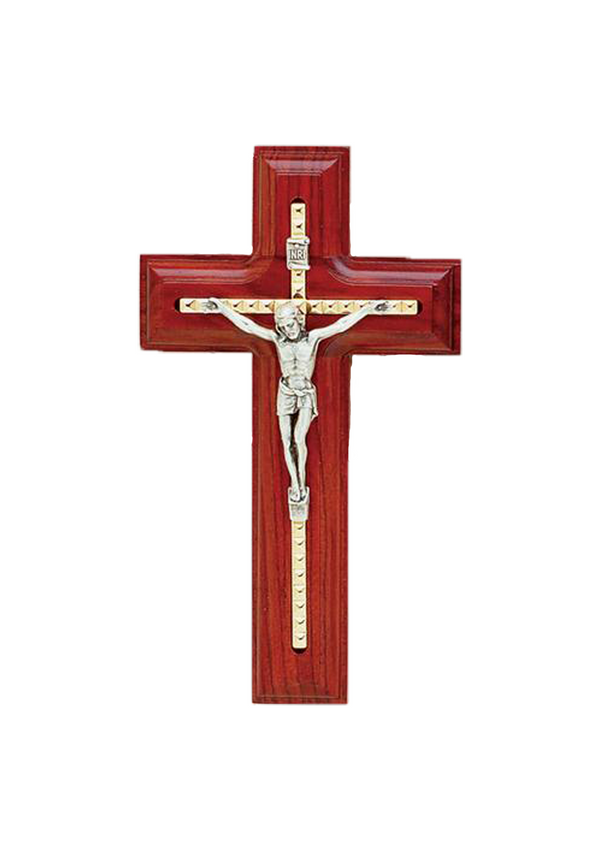 5.5in. Rosewood Cross with Inlaid Goldplated Crucifix