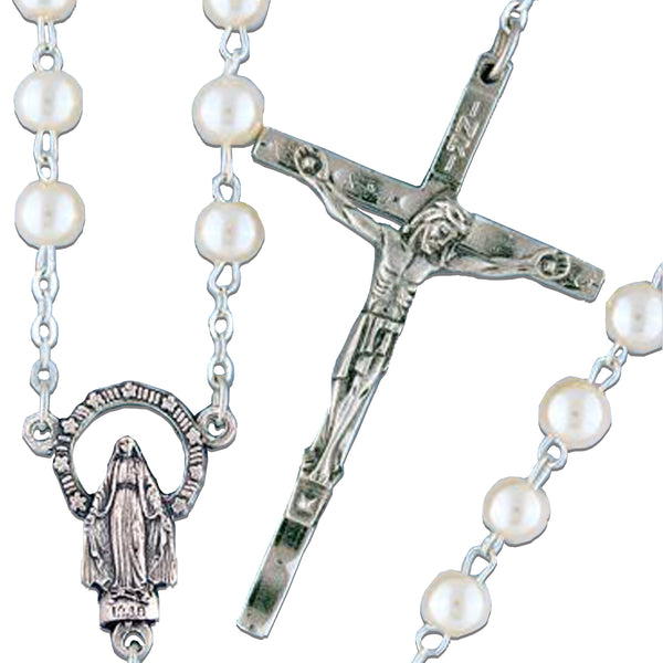 Round Pearl Rosary - 1506/S
