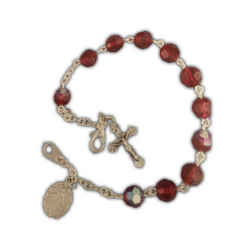 Ruby, Silverplated Cross and Medal Bracelet-08610/CR