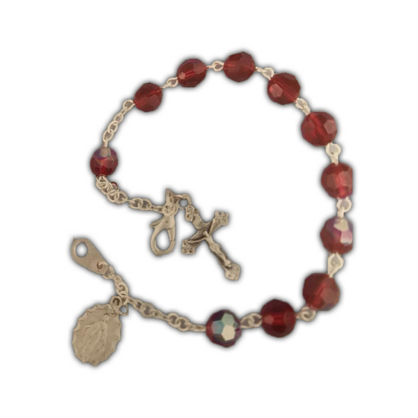 Ruby, Silverplated Cross and Medal Bracelet
