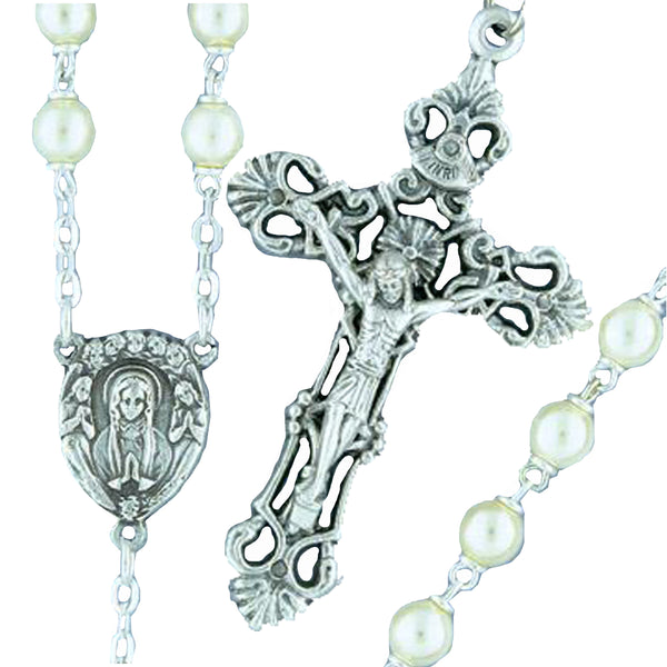 Silverplated Pearl Rosary - 274/S