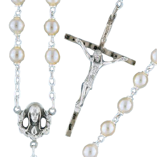 Silverplated Pearl Rosary - 14427/S