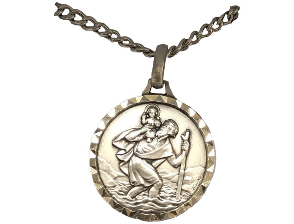 St. Christopher Large/Small French Nickel Silver Medal With Necklace-CHR93/CHR86