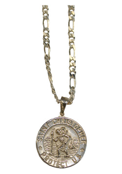 Sterling Silver Saint Christopher Medal With Necklace