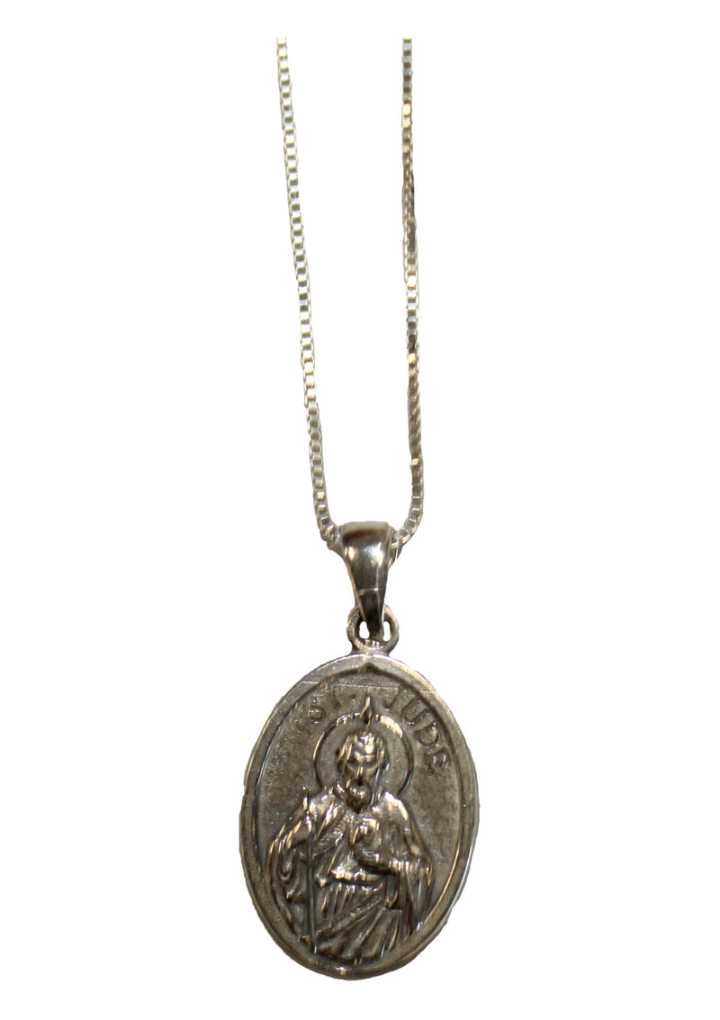 Sterling Silver Saint Jude Medal and Necklace