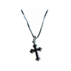 "1"" Sterling Silver Cross w/ decorative corners and 14"" SS Chain"